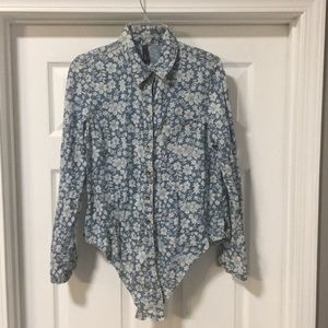 SEVEN7 Flower Print Top Size Small